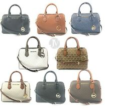 Michael Kors Bedford Leather Signature Large Duffle Satchel Handbag