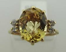 14KT YELLOW GOLD 3 CTTW  GOLDEN BERYL DIAMOND RING SZ 6.5 (25R 160-10246)