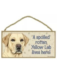 "A Spoiled Rotten Yellow Lab lives here! Cute Dog Sign 5""x10"" NEW Wood Plaque"