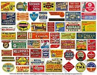 Model Railroad Billboard Signs, 2 Sheets, 108 Oil, Farm and Advertising Signs