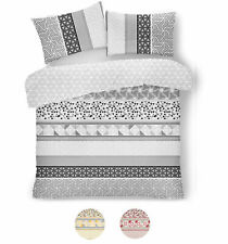 DOUBLE DUVET COVER Grey Bedding Set Soft Reversible Quilt Cover Pillow Case