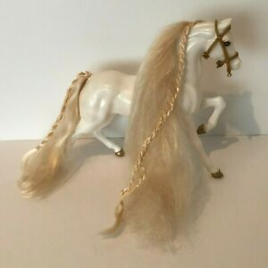"Barbie Doll Horse Vintage White 13"" Mattel 1988 Brushable Hair Gold Accents"