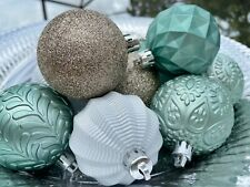 Christmas Sage Green White Champagne Gold Ornaments Coastal Home Decor Tree 9PC