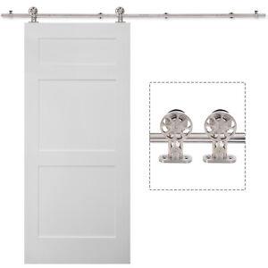 Sliding Door Hardware Track Set Stainless Steel Rail w/ Rollers Room Divider Kit