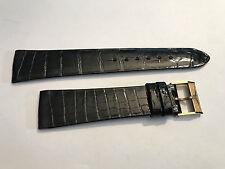 Original Longines bracelet cuir noir avec boucle doré, 20mm