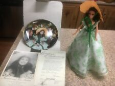 Scarlett O'Hara at Bbq 1994 Barbie Doll Hollywood Legends &1988 plate with Coa