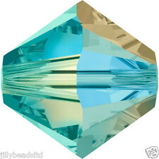 SWAROVSKI 5328 XILION Bicone Beads 4mm: BLUE ZIRCON AB 2X (50 Perline)