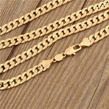 Antique 18K yellow Gold Plated Real Man Genuine Curb Chain Necklace Fit Pendant