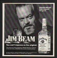 1974 JIM BEAM Kentucky Whisky - ORSON WELLES - WAR OF THE WORLDS -  VINTAGE AD