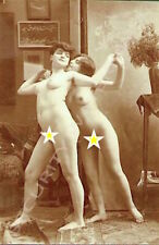 FRENCH SEPIA POSTCARD OF NUDE GLAMOUR MODELS FLEUR & GISELLE IN PARIS STUDIO