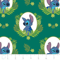 Disney Stitch Tropical Frame in Evergreen 100% Cotton fabric by the yard