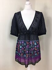 Monsoon Black Top Blouse Floral Plunge Silk Sequin Paisley Tie Back UK 12 (AO)