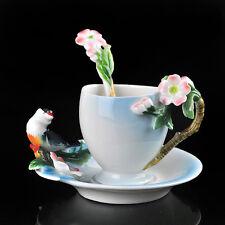 Porcelain Pink Sakura Bird Sparrow Whter Coffee Tea Cute Set Daily Used