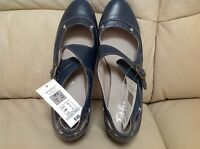 M&S DEEP BLUE LEATHER FOOTGLOVE SHOES - SIZE: 8 BNWT RRP £45