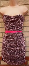 POP ART PINK BROWN LEOPARD MESH RUCHED CORSET BODYCON PARTY TUBE DRESS M L 12 14