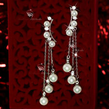 Pearl Drop/Dangle White Gold Filled Fashion Earrings