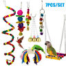 7PCS/Set Beaks Metal Rope Small Parrot Toy Budgie Cockatiel Cage Bird Toys New