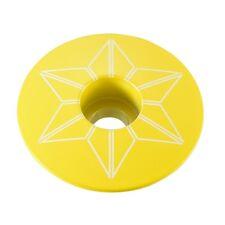 "Supacaz Star Capz Top Cap - 1-1/8"" - Powder Coated - TDF Yellow"