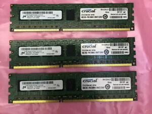 LOT OF 3 x 4GB (12GB) Crucial CT51272BA1067.M18FMR 4GB DDR3 PC3-8500 1066MHz ECC