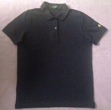 Genuine Pringle Scotland Sport Golf Navy Blue Lion Cotton Polo Shirt Top S 38 10
