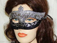 Party Rhinestone Crystal Masquerade Silver / Black Mask Costume