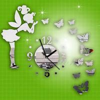 Modern Butterfly Fairy Clock DIY 3D Art Mirror Wall Sticker Kids Room Home Decor
