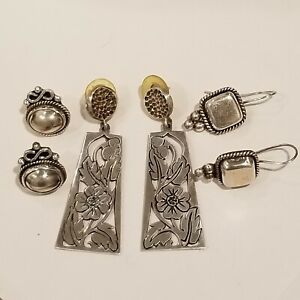 Vintage Mexico Sterling Silver 925 3 Pairs of Pierced Earrings