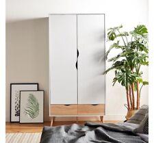 Simple Stylish 2 Door Double Wardrobe in White & Oak Bedroom Furniture Cupboard