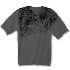 Mens Grey Biker T-Shirt XL ~ Skeleton Eagle~