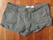 Aeropostale Shorts Army Olive Green Solid Linen Cotton Chino Junior Women 00 XXS