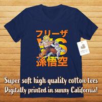 Super Saiyan Goku vs Frieza Freeza Anime Mens Womens Unisex Tee V-Neck T-Shirt