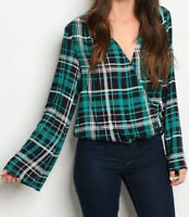 Plaid Top Bell Sleeve Women's Green V Neck Surplice Top Size Large