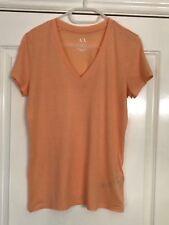 ARMANI Exchange Women's cotton V-neck T-shirt Top Tee Peach Size XS UK8 Genuine
