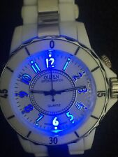 ohsen watch men,40mm Case ,beautiful Blue Light On Dail,plastic/stainless Steel