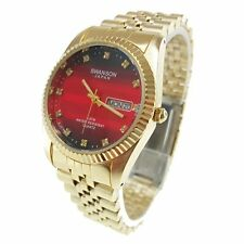 """SWANSON JAPAN MEN """"S GOLDEN WATCH WITH BLACK & RED FACE DAY & DATE"""