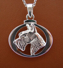 Sterling Silver Scottish Terrier Head Study On A Horizontal Oval Frame Pendant