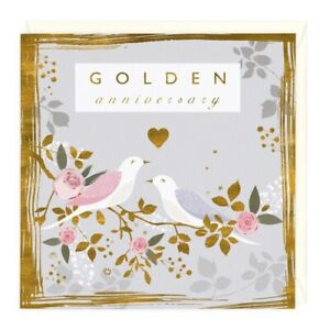 Golden 50th Wedding Eco Anniversary Card Whistlefish- mix any cards for discount