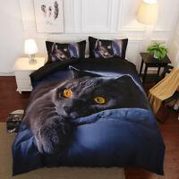 Hot 3D Lazy Black Cat Bedding Set Duvet Cover Comforter Cover Pillow Case