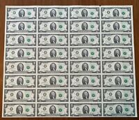 Uncut Sheet of 32 2003A $2 Notes! UNCIRCULATED!! L-A Block! San Francisco, CA!