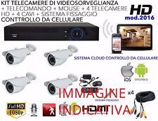 KIT VIDEOSORVEGLIANZA AHD 4 CANALI DVR + 4 TELECAMERE 1200TVL LAN VGA HDMI