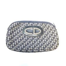 Christian Dior Vintage Trotter Small Pouch Purse Navy Canvas Authentic