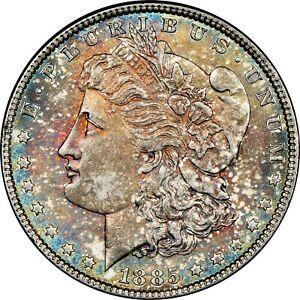 1885-P USA MORGAN SILVER DOLLAR NGC MS62 COLOR GEM TONED UNC BU CHOICE #10 (DR)