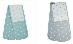 Duck Egg & White, Grey & White Polka Dot Double Oven Glove or set 3 Tea Towels