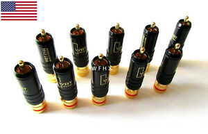 10x WBT-0144 Gold Plated RCA Locking Soldering Plugs Audio Video Connectors US