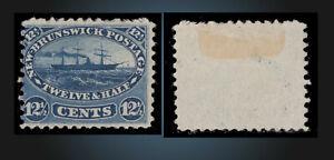 1860 -1863 NEW BRUNSWICK MINT NO GUM 12.1/2 C BLUE SCT.10 SG.18 PADDLE STEAMER