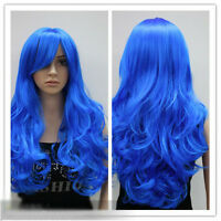 European Style Fashion Specialized Blue Long Curly Hair Girls/Women Wigs L-8
