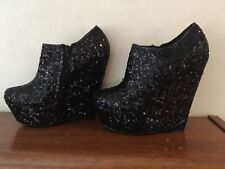 Koi Couture ladies boots Wedge Heels Black Shiny High 6 Inc Size 6