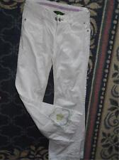 oilily girls white jeans cotton embroidered flowers pants 140