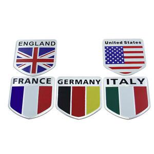 1x Aluminum 3D Logo National Flag Car Sticker Decal Badge Emblem Self Adhesive.