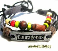 "Leather Surfer Biker Hip Hop Bracelet Men Women ""Courageous"" Wood Beads Hemp"